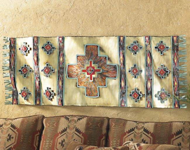 Southwestern Rug Metal Art Wall Hanging