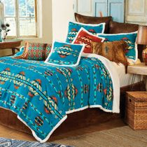 Southwestern Turquoise Plush Bed Set - Queen