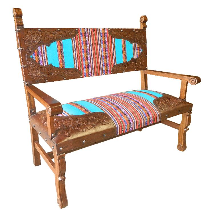Spanish Heritage Bench with Inka Fabric