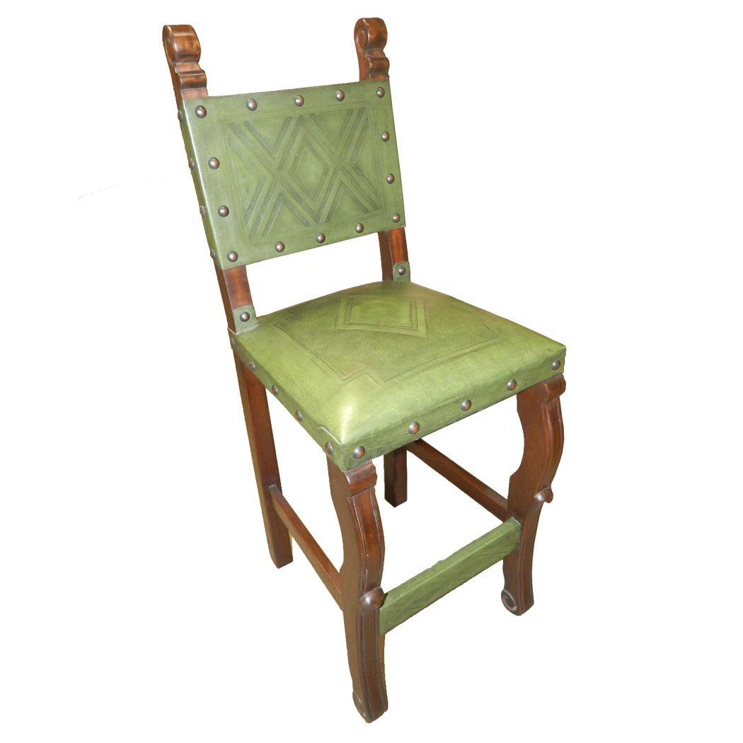 Spanish Heritage Chair with Diamond Tooled Leather - Green - Set of 4