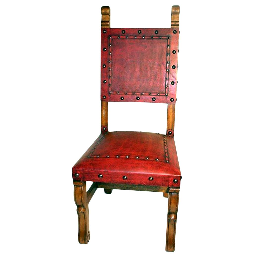 Spanish Heritage Red Chair - Plain with Nailheads - Set of 4