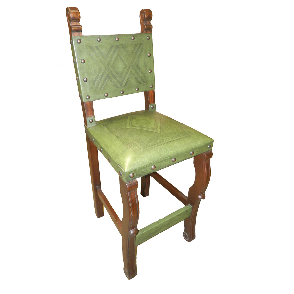 Spanish Heritage Sage Green Counter Stool with Back - Set of 2