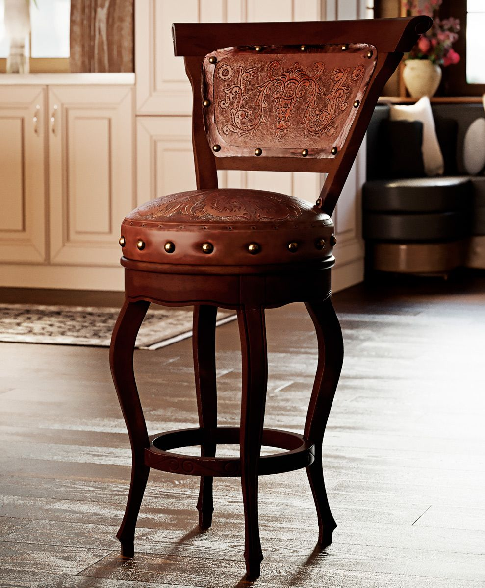 Spanish Heritage Swivel Barstool with Back - Antique Brown