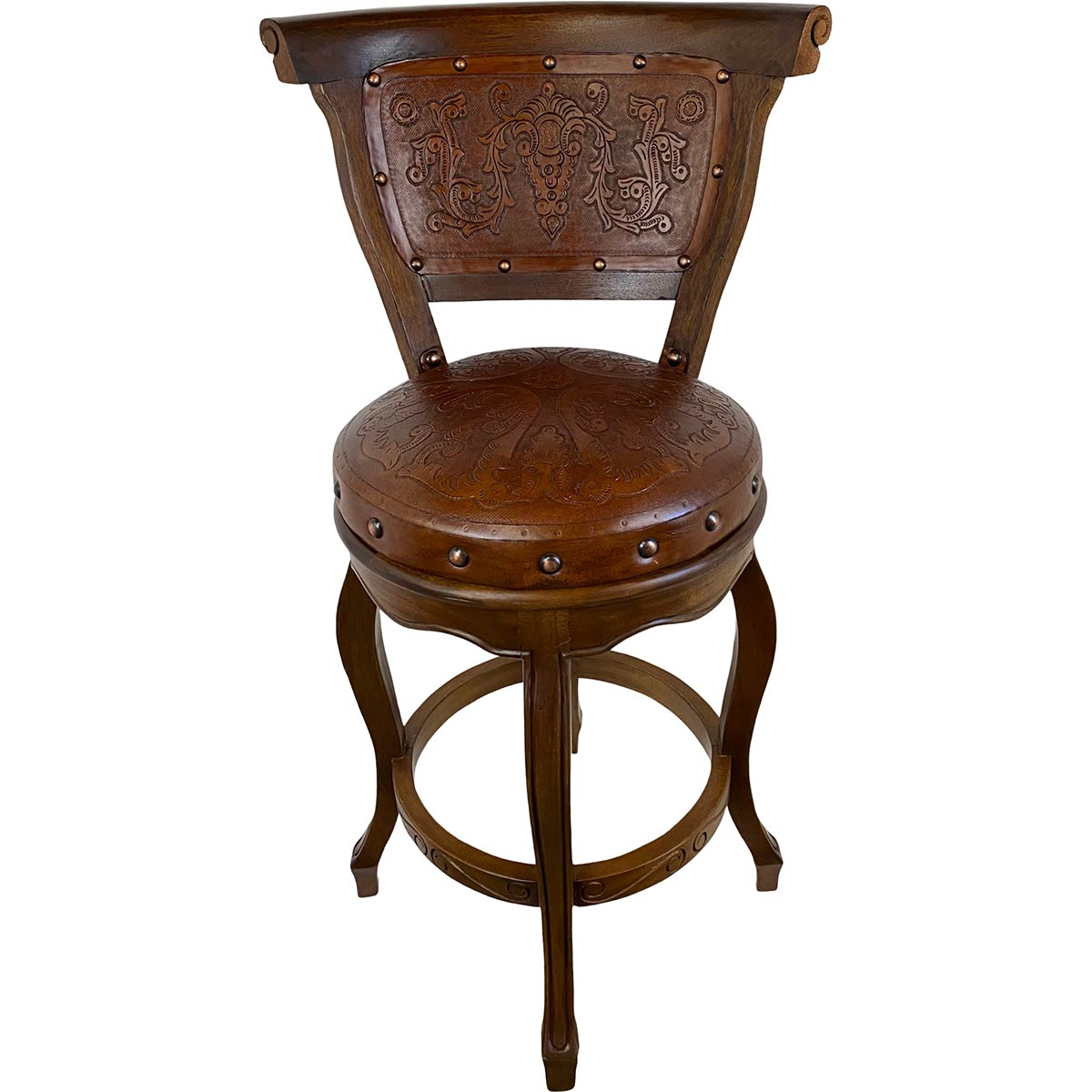 Spanish Heritage Swivel Barstool with Back - Colonial Rustic
