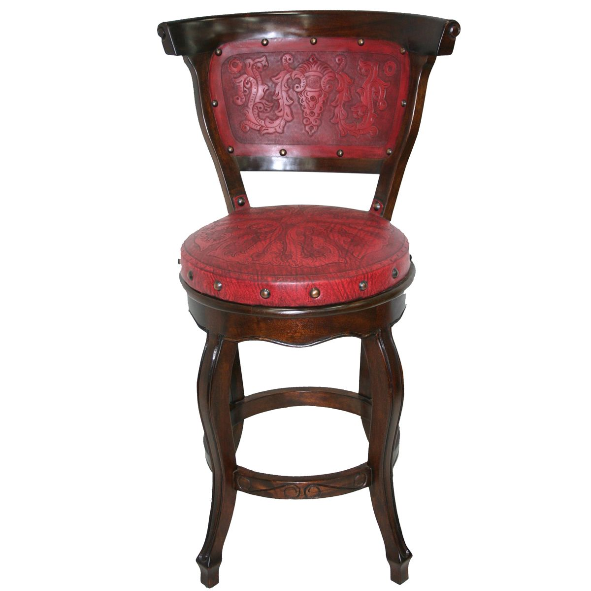 Spanish Heritage Swivel Barstool with Back - Red