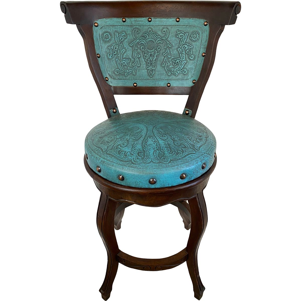 Spanish Heritage Swivel Barstool with Back - Teal