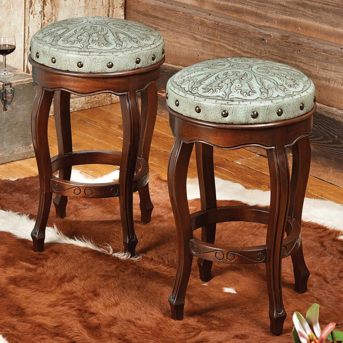 Super Spanish Heritage Turquoise Round Counter Stool Set Of 3 Bralicious Painted Fabric Chair Ideas Braliciousco
