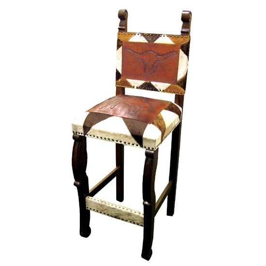 Spanish Heritage Western Hair on Hide Barstool - Set of 2