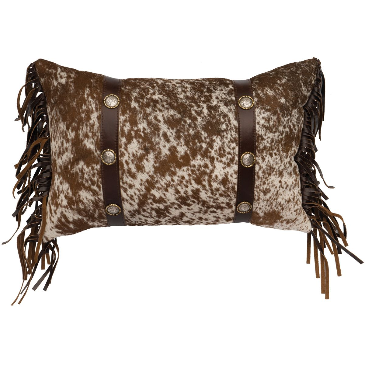 Speckled Hair on Hide with Leather Bands Pillow and Fabric Back