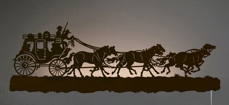 Stage Coach Back Lit Wall Art - Rust
