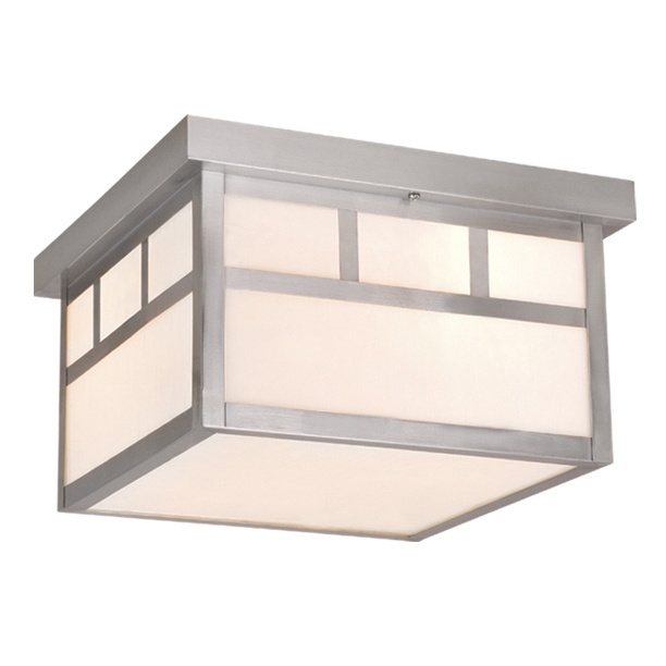 Stainless Steel Mission Outdoor Flush Mount Ceiling Light