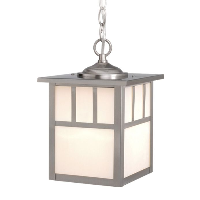 Stainless Steel Mission Outdoor Pendant Light - 7 Inch