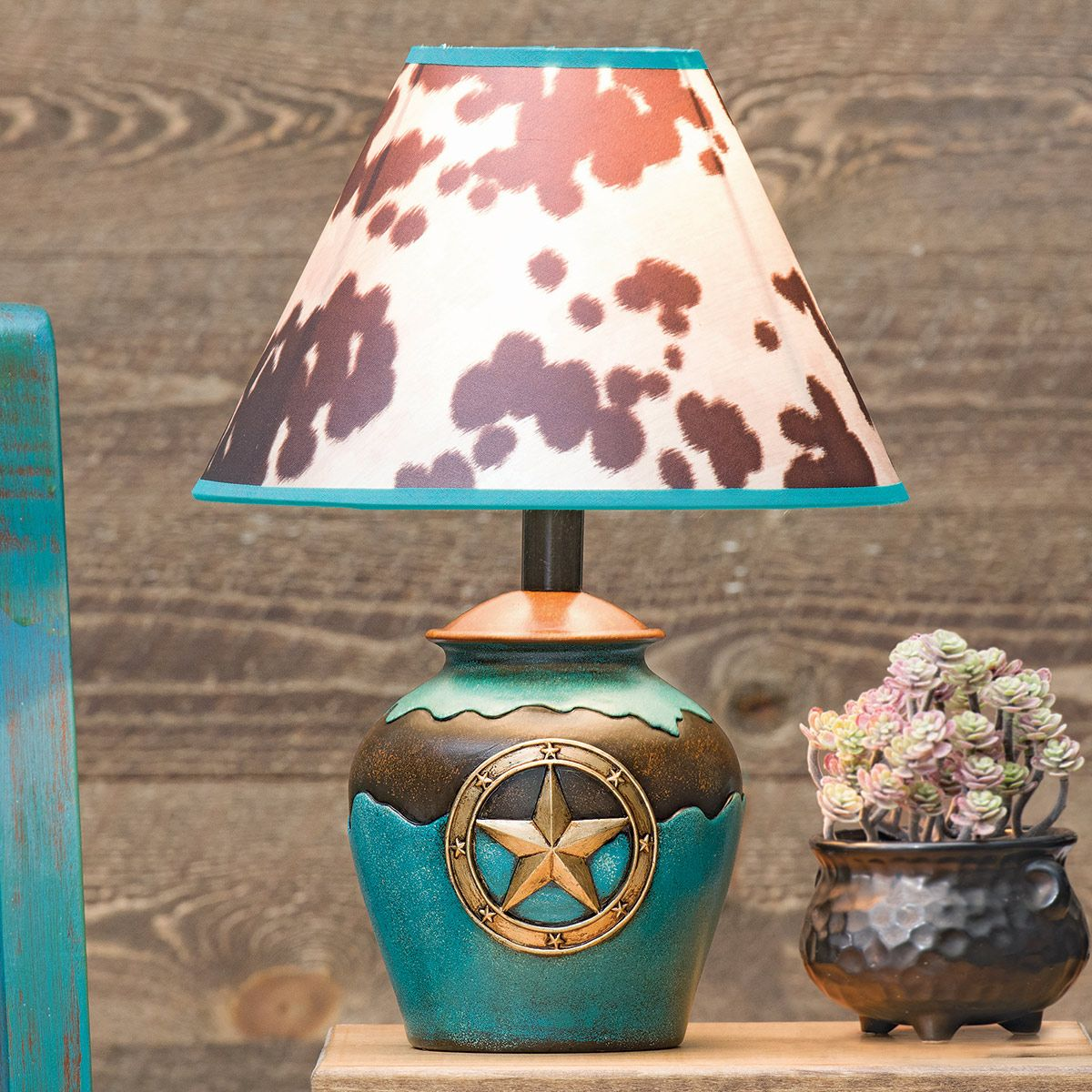 Star & Cowhide Accent Lamp