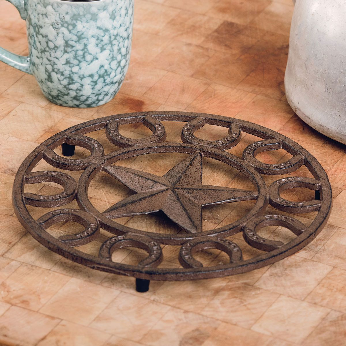 Star & Horseshoe Cast Iron Trivet