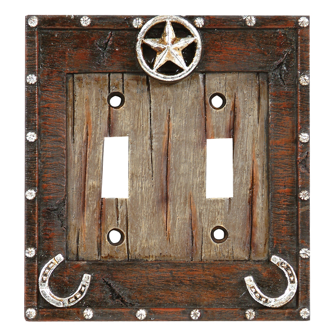 Star & Horseshoe Double Switch Plate