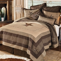Stars and Plaid Quilt Set - Queen