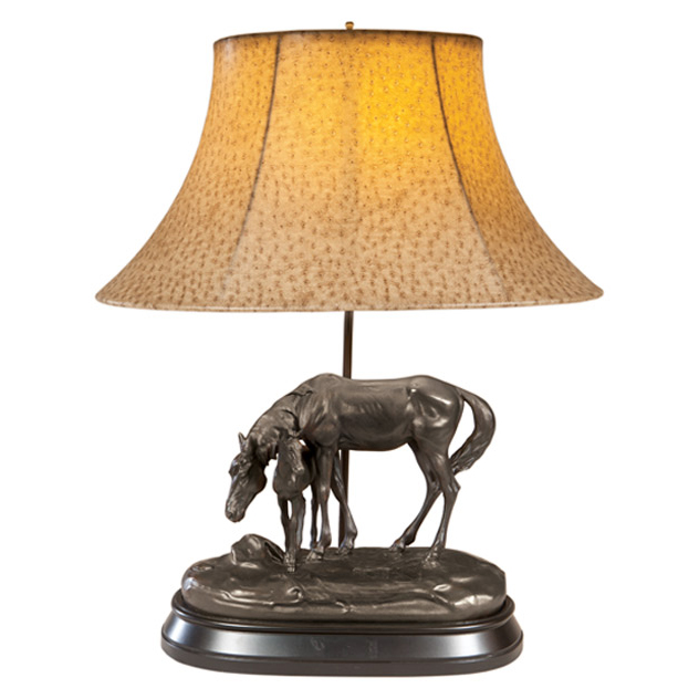 Stay Here Horse Lamp with Faux Ostrich Shade