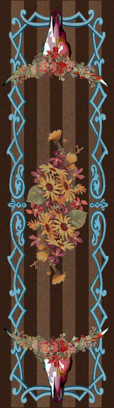 Steer Head Blossom Rug - 2 x 8