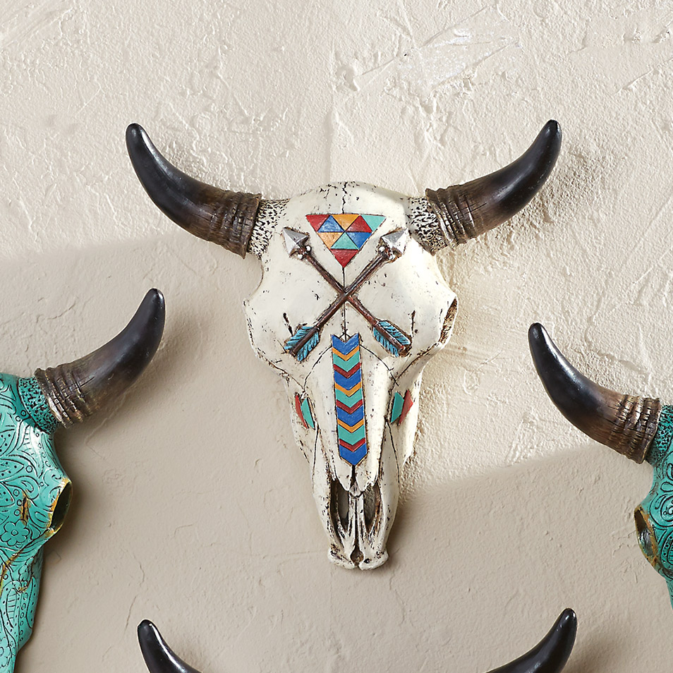Steer Skull with Painted Arrows Wall Hanging