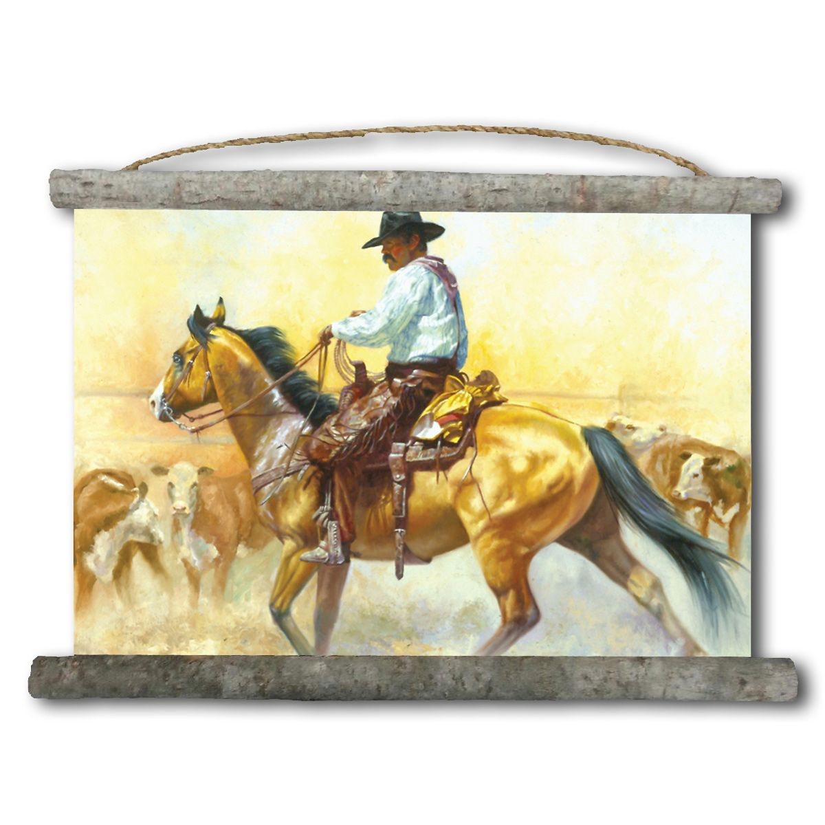Stepping Out Cowboy Canvas Wall Scroll