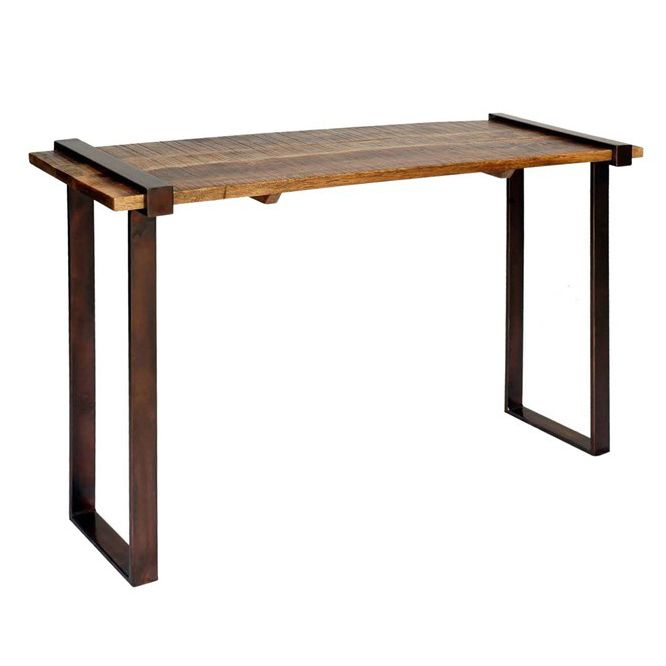 Strap Iron & Solid Mango Wood Console Table
