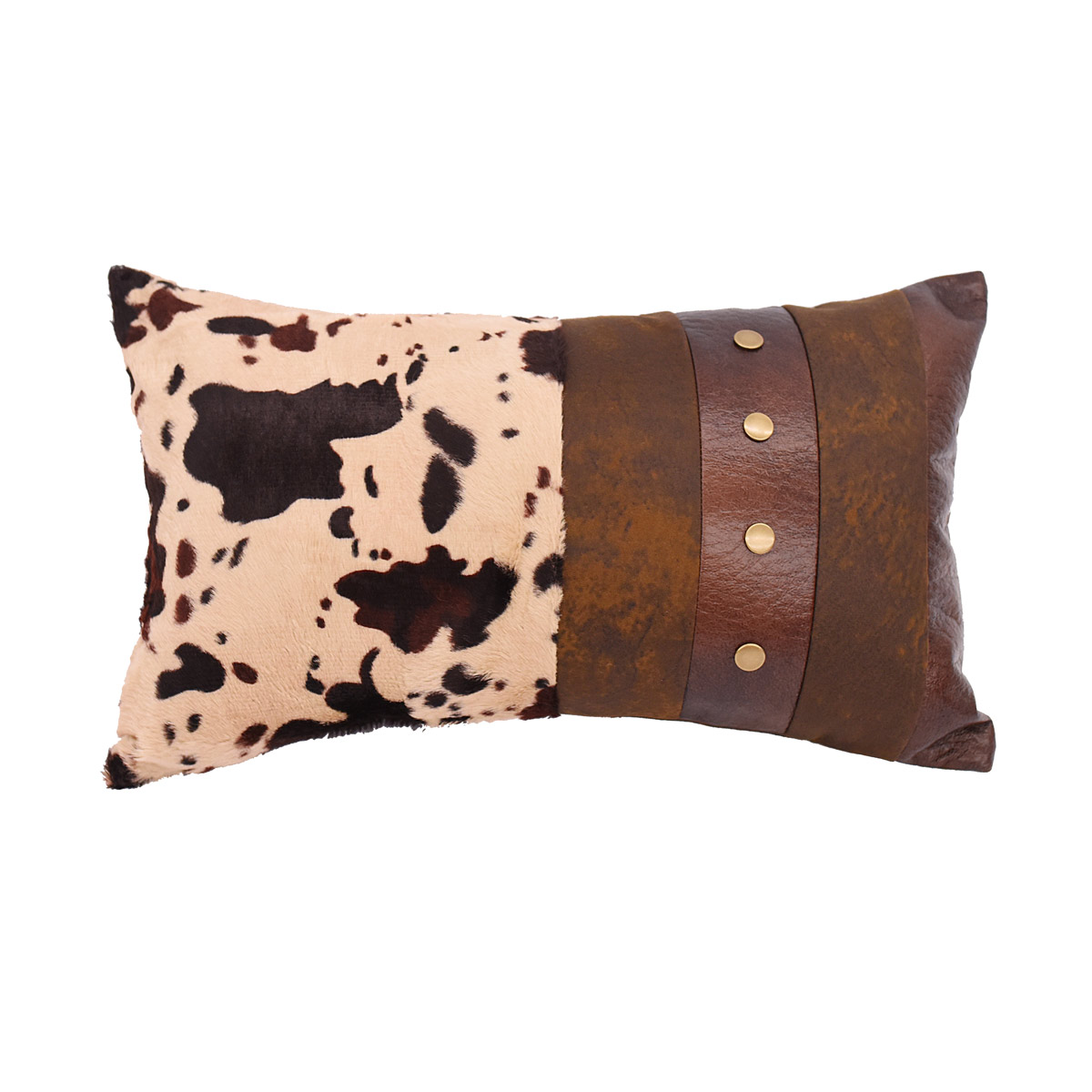 Studded Band Faux Leather and Cowhide Pillow