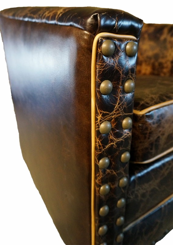 Studded Distressed Leather Swivel Glider