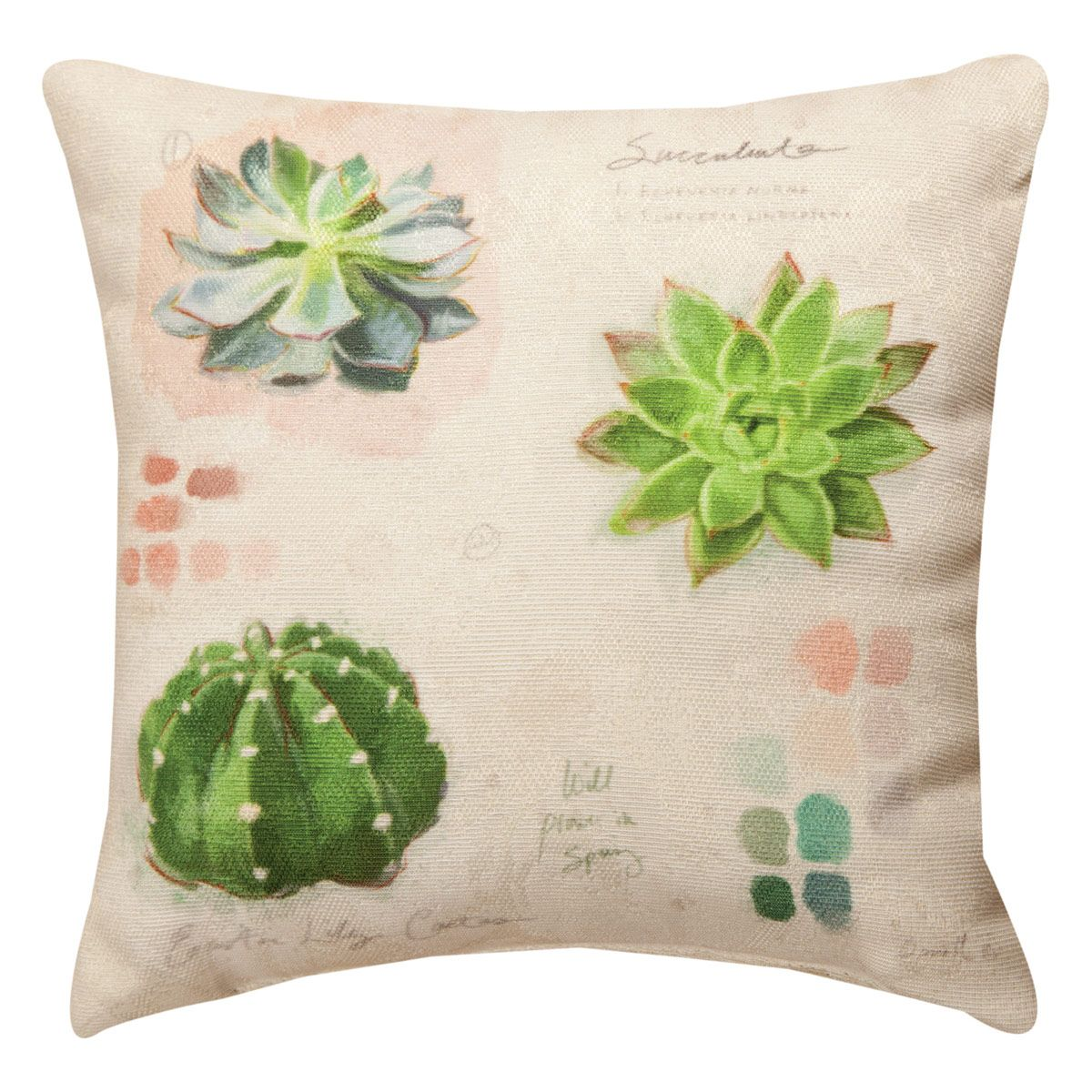 Succulent Collection Pillow - 12 x 12