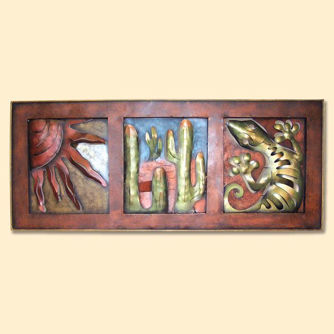 Sun, Cactus and Gecko Frame Metal Wall Art