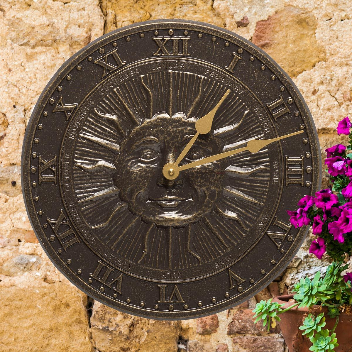 Sun Face Indoor/Outdoor Wall Clock - French Bronze