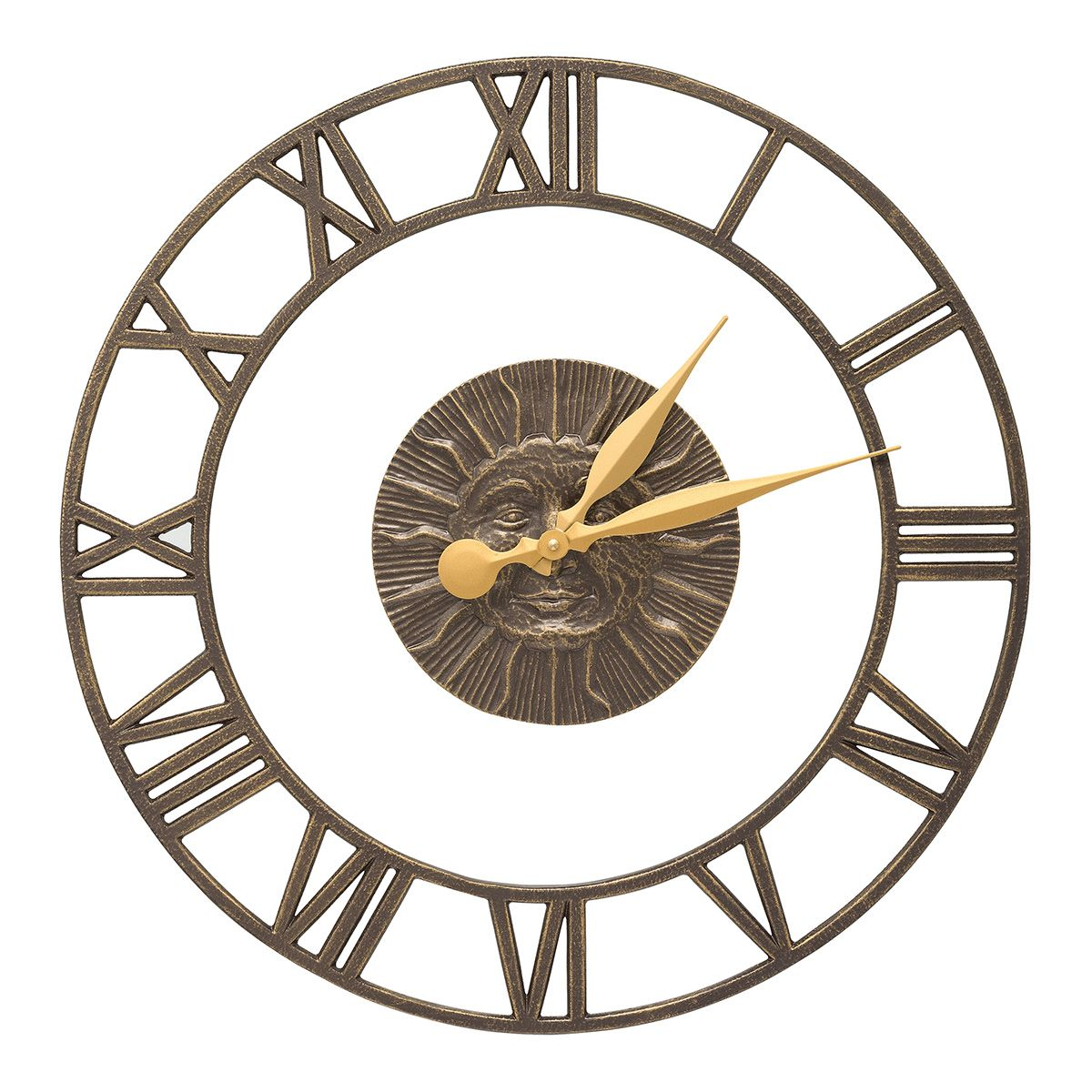 Sun Face Ring Indoor/Outdoor Wall Clock - French Bronze