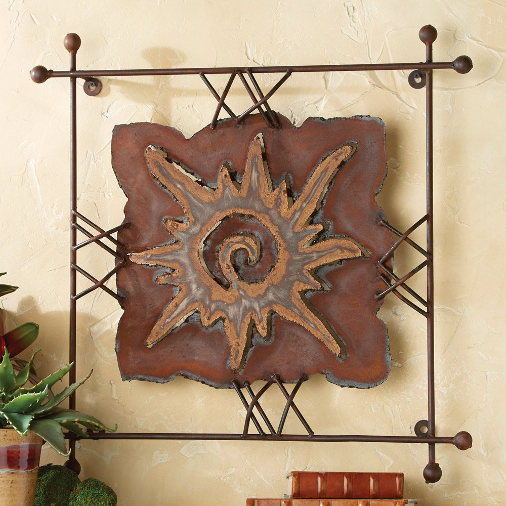 Family tree metal decorative wall plaques. Rustic Metal Wall Art: Large Sun Rawhide Metal Wall Art