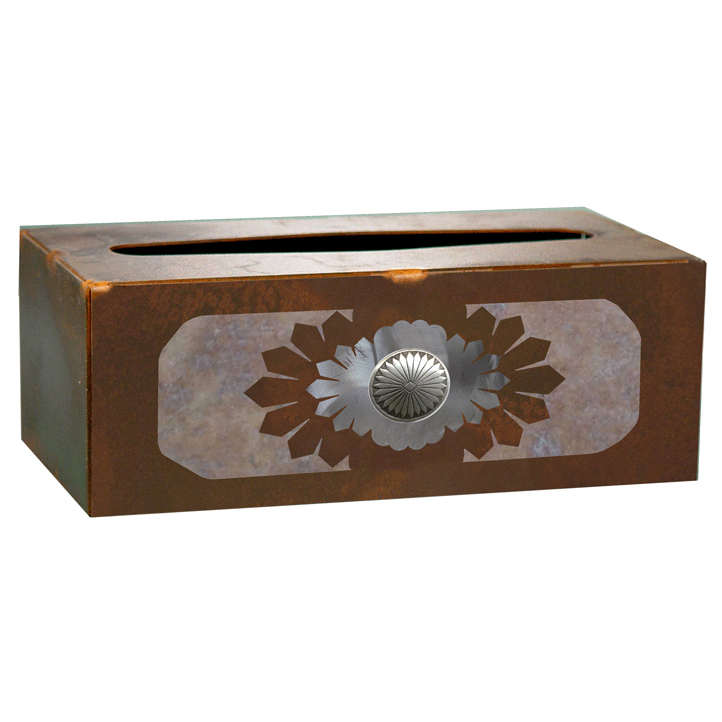 Sunburst Concho Rectangle Tissue Box Cover