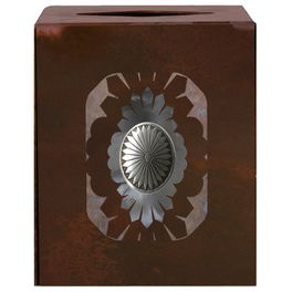 Sunburst Concho Square Tissue Box Cover