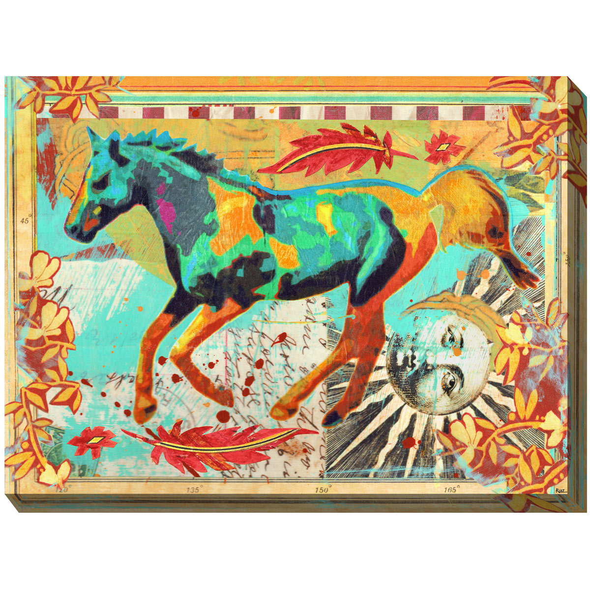 Sunburst Horse Outdoor Canvas Art