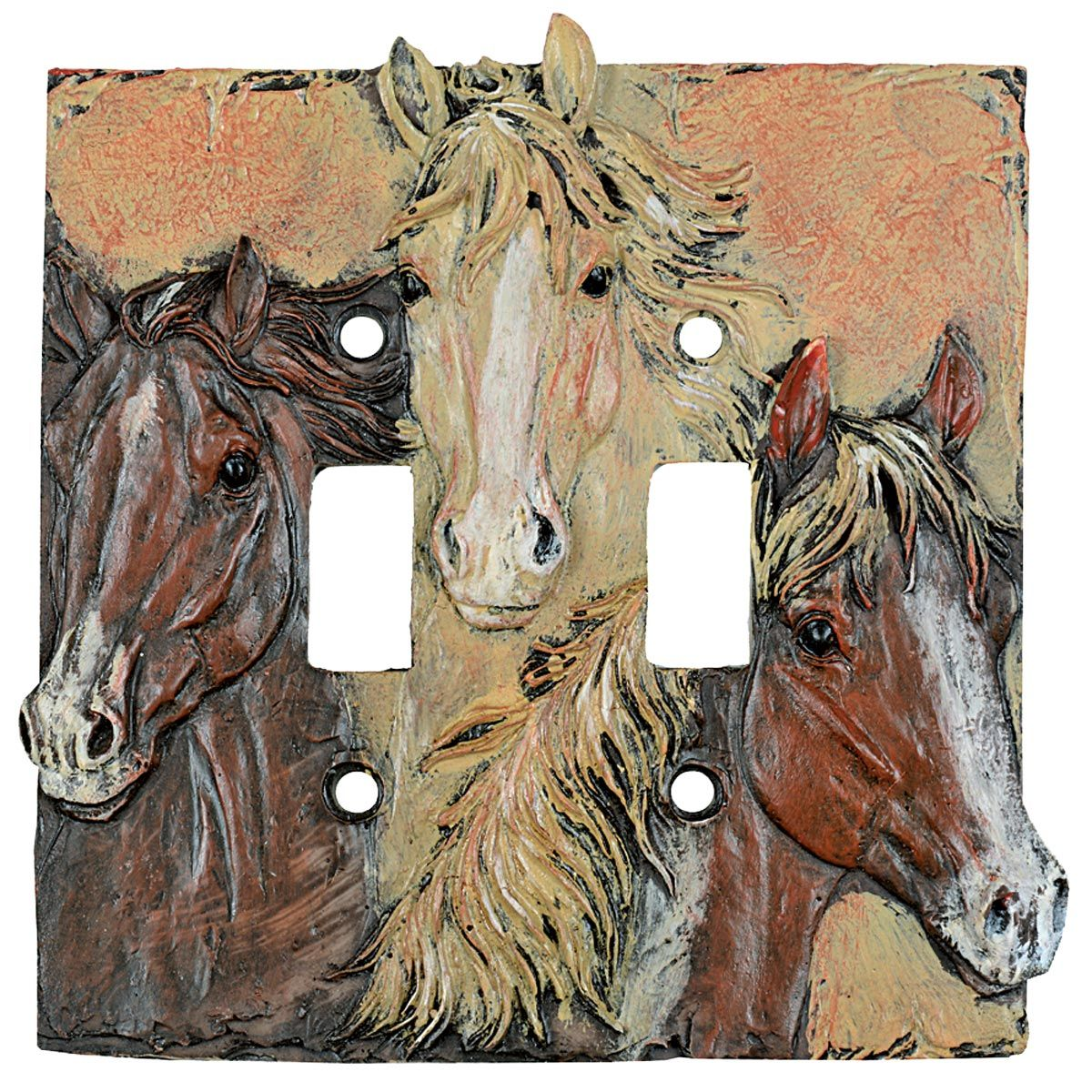 Sunrise Horses Double Switch Cover