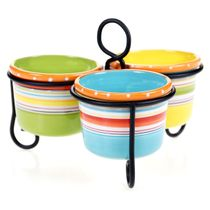Sunrise Stripes 3-Bowl Server with Metal Stand