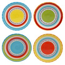 Sunrise Stripes Canape Plates - Set of 4