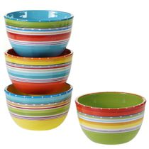 Sunrise Stripes Ice Cream Bowls - Set of 4