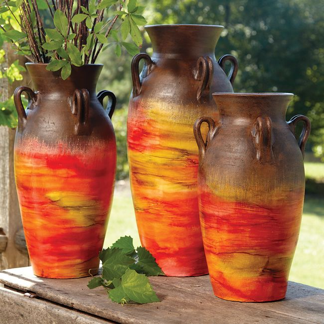 Sunset Pottery Vases - Set of 3
