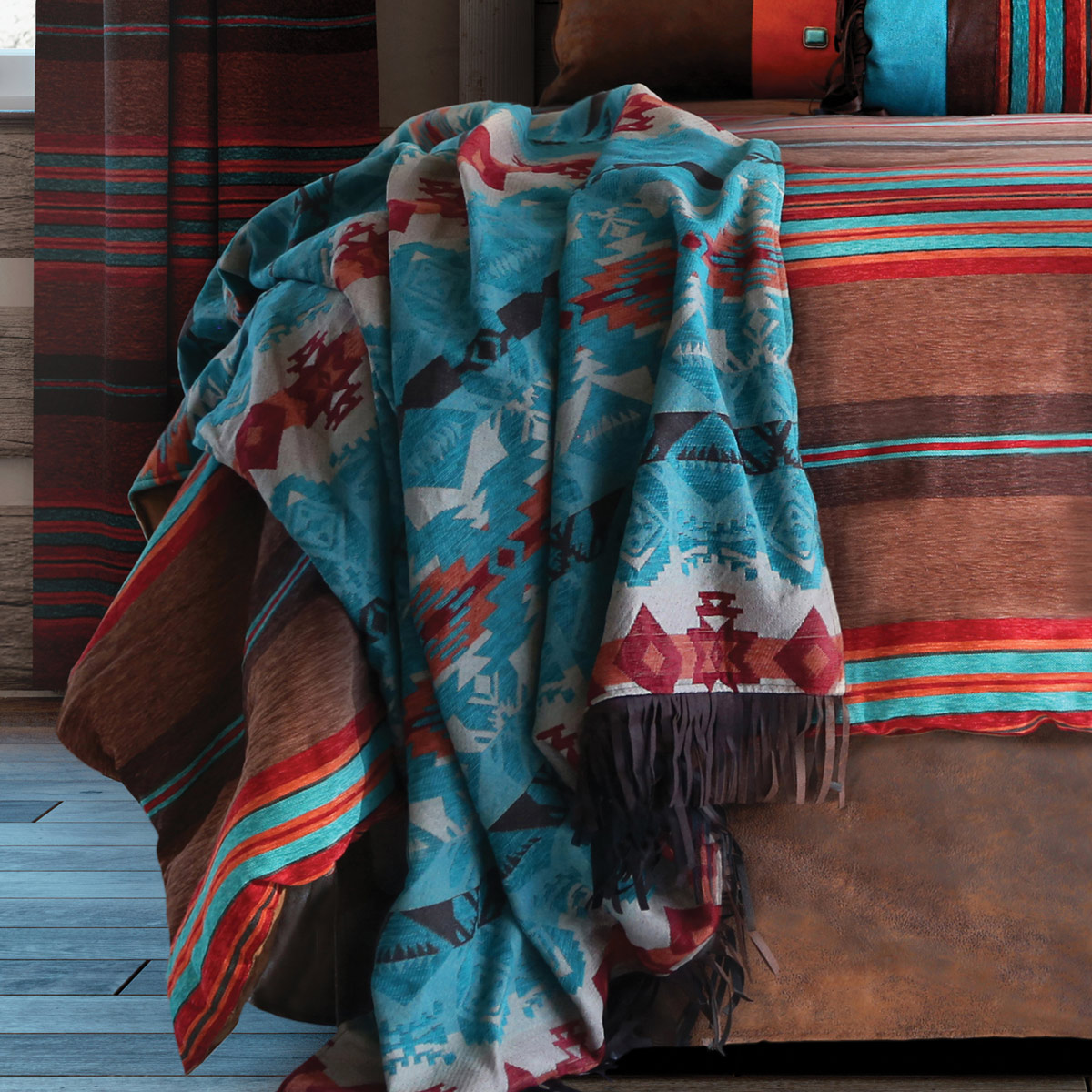 Sunset Vista Turquoise Chamarro Throw - BACKORDERED Until 5/13/2021
