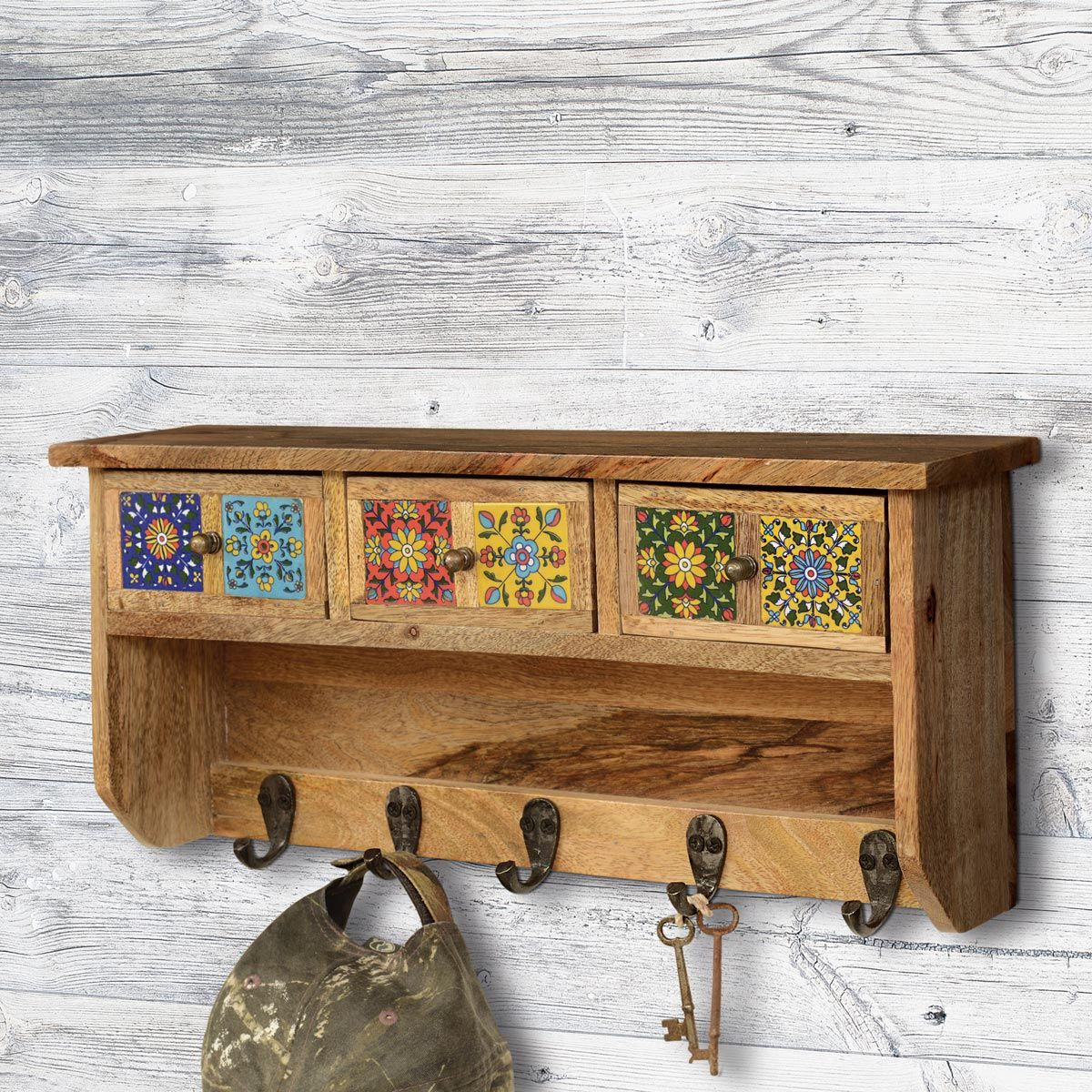 Talavera Tiles Cabinet with Hooks
