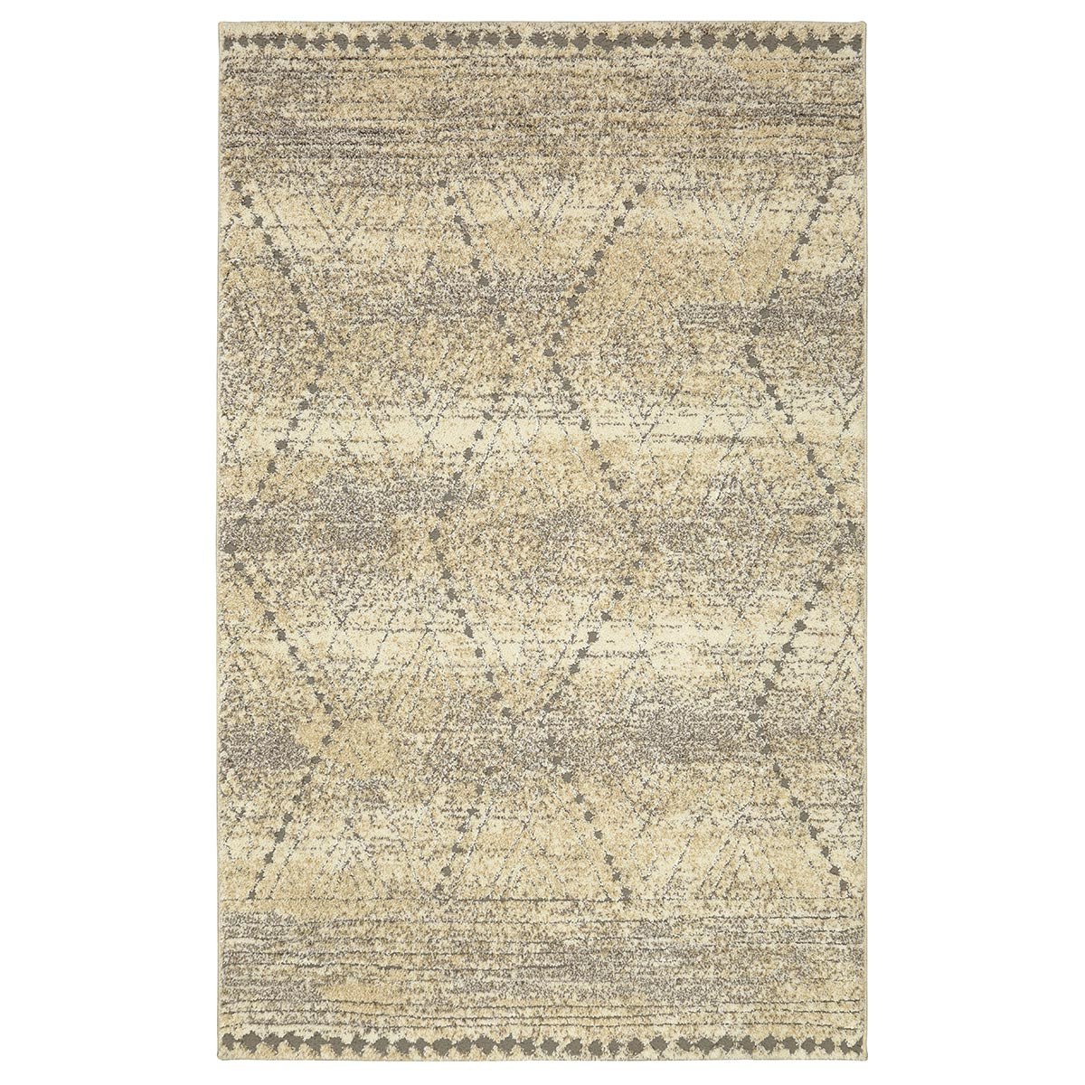 Tan Diamond Lines Rug - 8 x 10