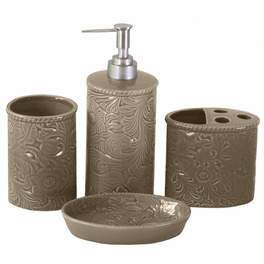 Taupe Tooled Ceramic Bath Set - 4 pcs