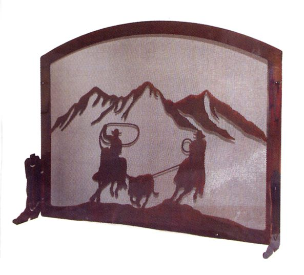 Team Ropers Fireplace Screen