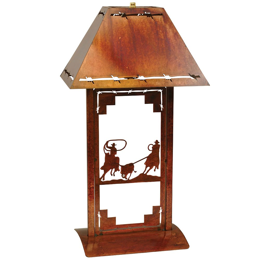 Team Roping Table Lamp