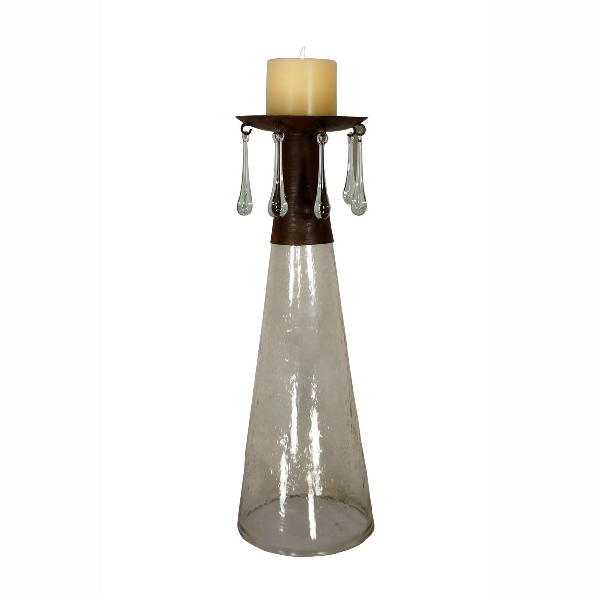 Teardrop Top Candle Holder with Reversed Crackled Clear Cone Base