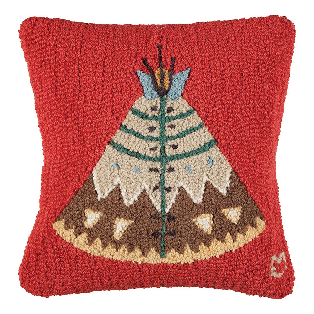Teepee Hooked Wool Pillow