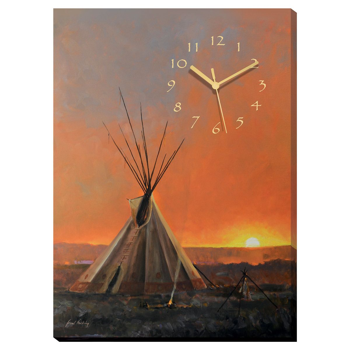 Teepee Sunset Canvas Wall Clock