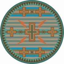Tempest Turquoise & Gray Rug - 8 Ft. Round